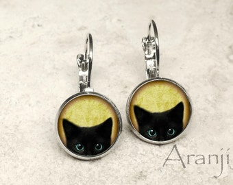 Glass dome black kitten earrings, black cat earrings, black cat jewelry, black kitten earrings AN116LB
