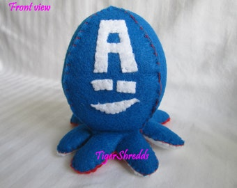 Captain America Plushy; Custom Plushie Octopus; Stuffed Plush; Captain America; Marvel, Marvel Stuffed Animal; Toy; Stuffed Octopus