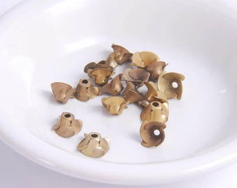 18 pcs Vintage Brass Flower Rose Bead Cups Findings, Charms 12 mm size