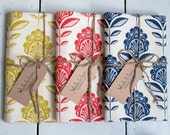 Set of 3 tea towels with peacock flower print