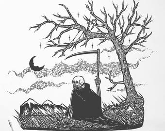 Original Is This All There Is Low Brow Pen and Ink Skeleton Grim Reaper Death Illustration