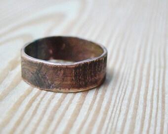 Mens wedding Band Mens ring, wood texture ring, man jewelry, men ring, boyfriend christmas gift