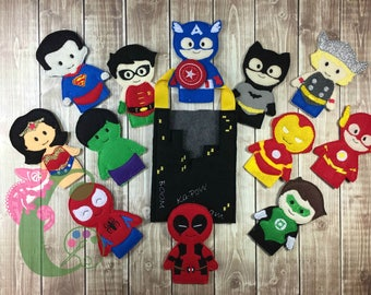 Custom Finger puppets, Superhero, pretend play, therapy toys, felt toys, stocking stuffers, party favors