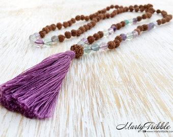 Fluorite Rudraksha Mala, Mala Necklace, Gemstone Mala Beads, Mala Beads 108, Mala Bead Necklace, Long Boho Necklace, Rudraksha Necklace