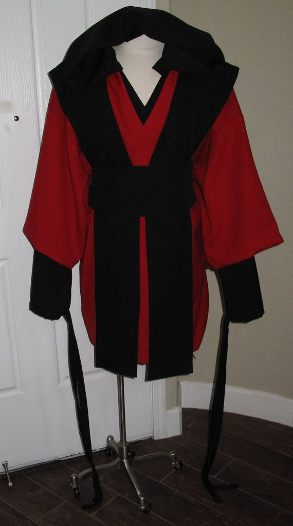Star Wars 5 piece red tunic half sleeve, black hooded shirt,tabards & sash costume