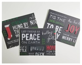 Blackboard Background Individual Christmas Cards with Envelopes
