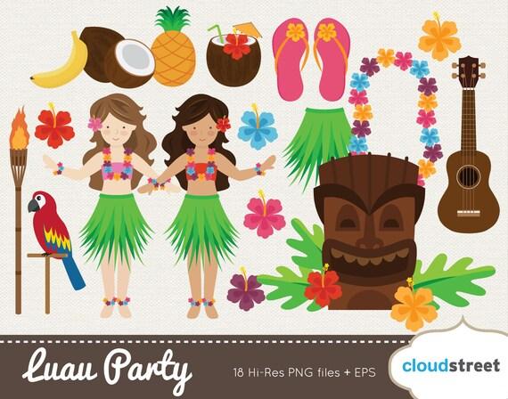 buy 2 get 1 free vector hawaiian luau clip art luau clipart rh etsy com Hawaiian Girl Clip Art Free Hawaiian Luau Dance Clip Art