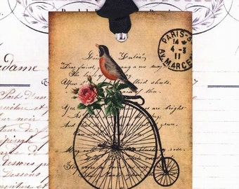 Gift Tags , Shabby Bird Tags ,  Bird on a Bike ,  Spring Robin , Red Breated Robin