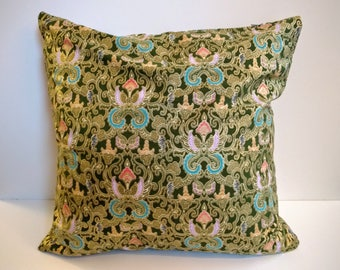 Green and Gold Pillow Cover / Olive Green Zippered Pillow Cover / 18 x 18 Pillow Cover
