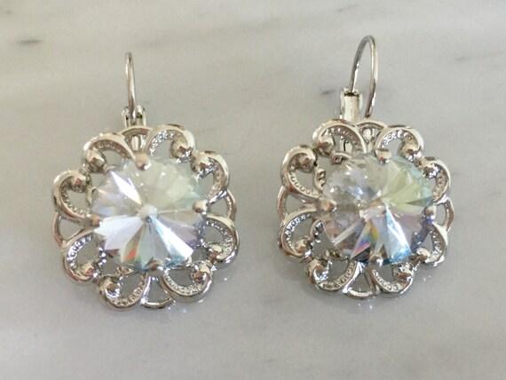 Blue Shade Swarovski Crystal Earrings, Silver
