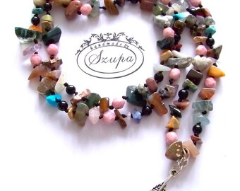 Boho necklace, bohemian necklace, gemstone necklace, beaded long necklace, knotted necklace, gift for her, colorful boho chic jewelry