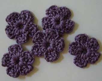 Crocheted Flowers - Plum Forget-Me-Nots - Cotton Flowers - Crocheted flwoer Appliques - Crocheted Flower Embellishments - Set of 6