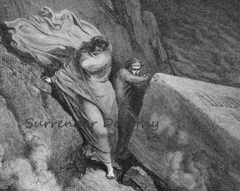 Pope Anastasius II Burning Tomb Inferno Canto 11  Gustave Dore Vintage Engraving Dante Hell Black & White