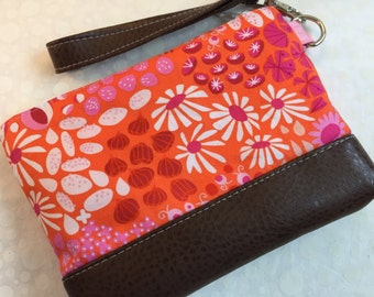 Lizzy House Pink and Orange Floral with Faux Leather