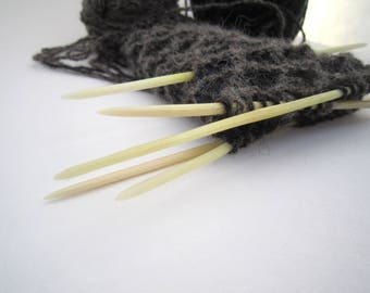 Set of Elk Bone Double Point Needles with Protectors. Natural and Rustic Looking Knitting Tools
