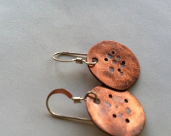 POPPY recycled copper organic hammered earrings