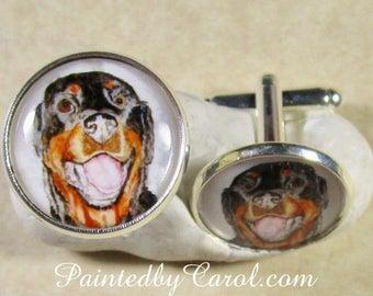 Rottweiler Cufflinks, Rottweiler Accessories, Rottweiler Gift, Rottweiler Dad Gift, Rottweiler Mens Gifts, Rotty Cufflinks, Rottie Cufflinks