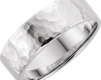 6mm Flat Hammered Sterling Silver Band RF425