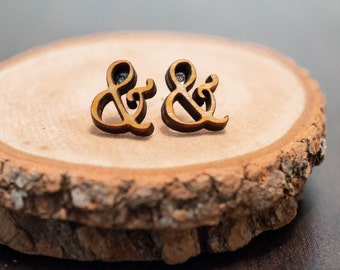 Laser Cut Ampersand Wood Earrings | Wood Stud Earrings