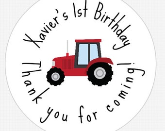 12 Customized Farm Birthday Party Tractor Round Labels! ANY info you want!