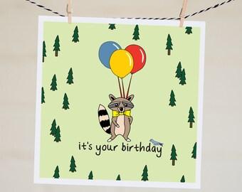 Best Friend Birthday Card | Happy Birthday Card | Handmade Funny Birthday Card Boyfriend | Birthday Gift | Raccoon Adventure Illustration