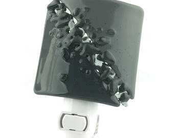 Night Light Plug In, Gray Vanity Light, Art Glass Home Decor, Large