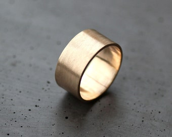 Men's Gold Wedding Band, 10mm Wide Brushed Flat 10k Recycled Yellow Gold Men's Man Wedding Ring Gold Ring -  Made in Your Size