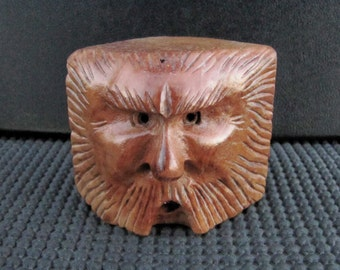 Wood Spirit, Wood Carving, Blockhead, Wizard, Mountain Man, OOAK Handmade Artist Sculpture, Log Cabin Decor, Briar Wood, Whimsical, WS-128