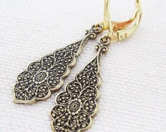 Gold Art Deco Style Earrings, Ornate Drop Earrings, Art Nouveau Style Jewelry, Wedding Jewelry, Bridal Jewelry, Bridesmaids Gift, Dangling