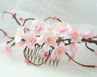 Cherry Sakura headpiece, Pink Flower Bridal hair comb, Flower Wedding hair comb, Bridal comb, Bridal headpiece, Bridal hair accessories
