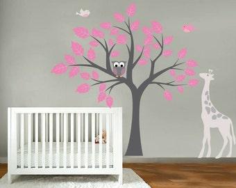 Kids tree vinyl wall decal with birds owls giraffe  too cute