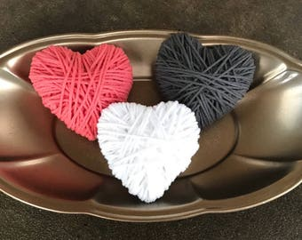 Coral, Gray, and White Yarn Wrapped Hearts; Valentine Hearts; Yarn Hearts; Valentine Bowl Fillers