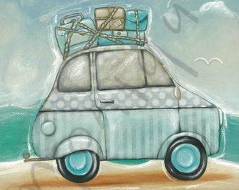 Retro Beach Print, Retro Car, Blue, mixed media, cute