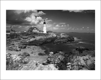 Portland Head Light Lighthouse - Maine - Black and White Photo Print - Fine Art Photography (LM03)