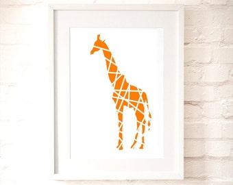 Orange Giraffe in Stripes Print, nusery art, nursery giraffe, kids room, Nursery wall decor, orange pattern