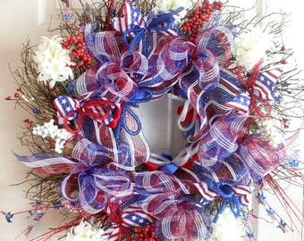 Patriotic wreath for front door, fourth of july wreath, patriotic decorations, americana decorations, Summer Wreath, Red White blue decomesh