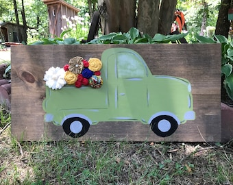 Old green pickup,country,rustic,vintage,nursery,kids room,
