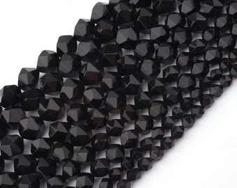 Black Onyx Beads, Natural Gemstone Beads, Nugget Faceted Beads For Jewelry Making 6mm 8mm 10mm 12mm 15''