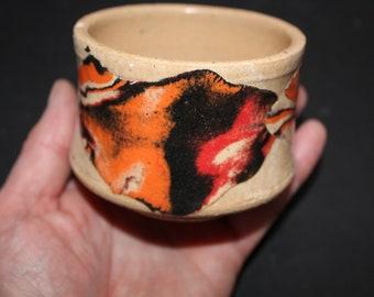 Ceramic tea cup Mokume gane 62