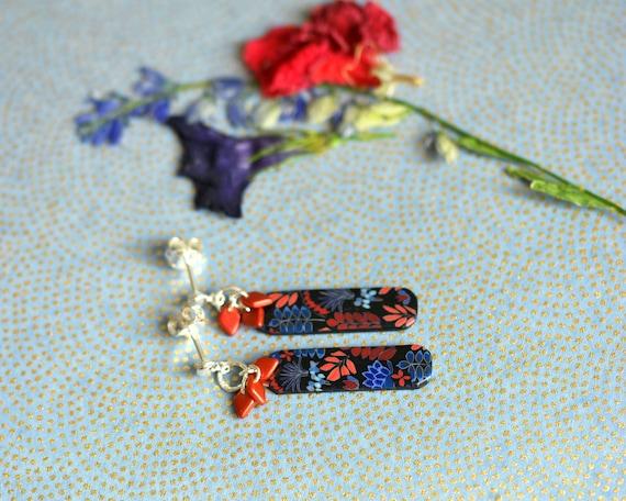 Boucles d'oreilles à motif floral rouge et bleu sur argent 925 'Kalanchoé'