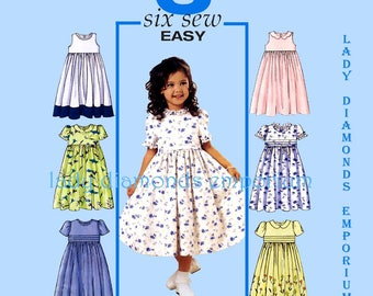 Butterick 3762 Childs Raised Waist Dress Flared Dirndl Skirt Girls size 2 3 4 5 Six Sew Easy Easter Dress Sewing Pattern Uncut FF