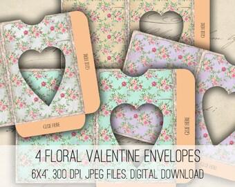 Heart Envelopes - Digital Collage Sheet Download -1169- Instant Download - Instant Download Printables
