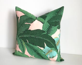 Green and pink palm leaf decorative pillow cover, tropical indoor/outdoor pillow cover