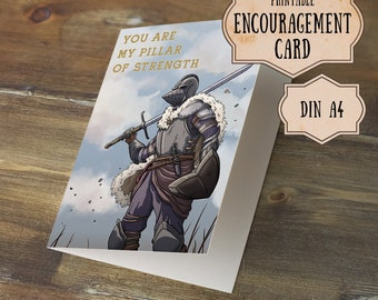 Knight, Strength, Pillar of Strength, Encouragement Card, Brave, Medieval, Fantasy, Instant Download