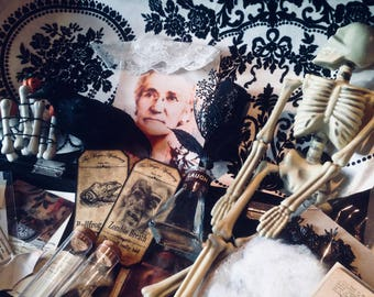 Haunted Halloween, Creepy Macabre Apothecary,Assemblage Shadow Box, Horror House Decor, Mad Scientist, Steampunk Laboratory, Witches Spells