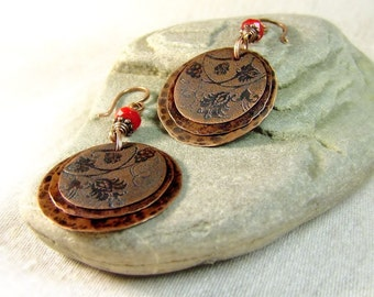 Copper earrings with flower pattern. Gift for her - under 50