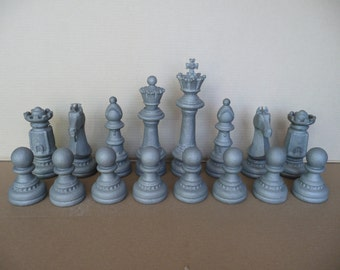 """Chess Set, """"Majestic Chess Set"""", Bronze and Stainless Steel"""