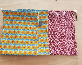 Set of 5 bags in bulk in shades of red and yellow