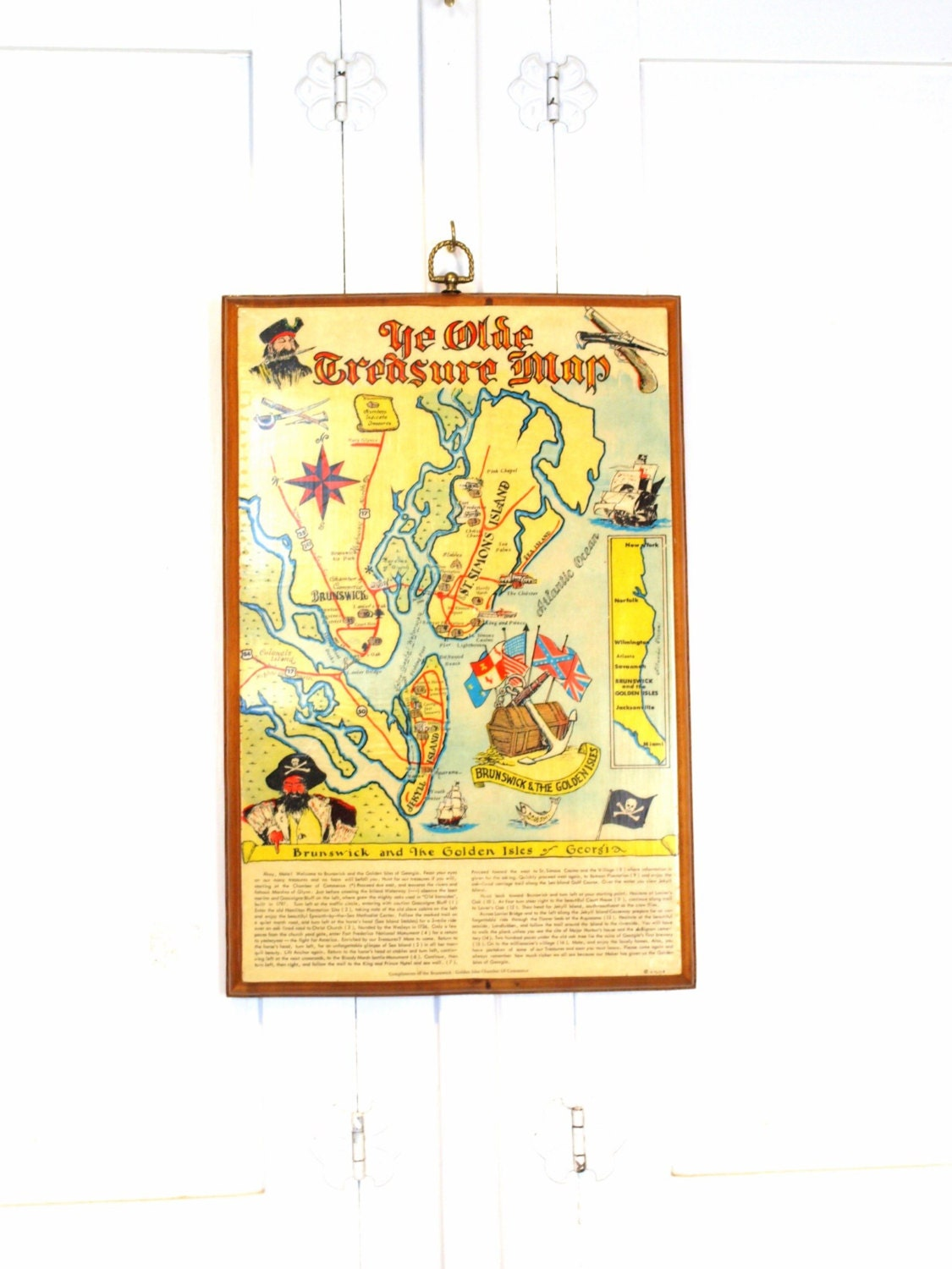 Vintage 70s YE OLDE Treasure MAP pirate themed wall hanging