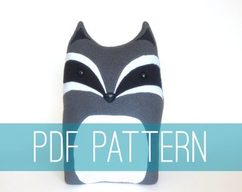 DIY Raccoon Pattern Woodland Pillow Plush - Fleece Fabric Animal Plushie - Do It Yourself Craft for Children and Adults - Make Your Own Toy